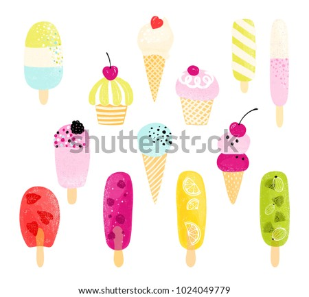 Colorful ice cream collection. Vector illustration of different isolated ice-cream.