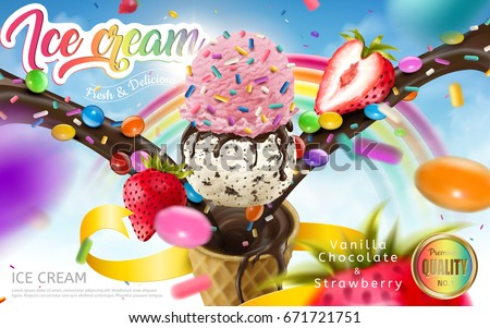 Colorful ice cream cone ads, rainbow jimmies, chocolate and strawberry toppings floating in the blue sky, 3d illustration for summer