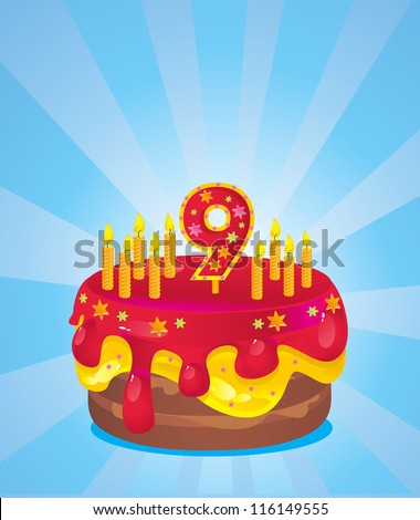 colorful  iced birthday cake with candles