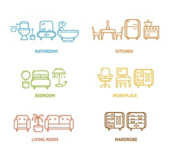 Colorful Icon Room Furniture Outline. Vector illustration