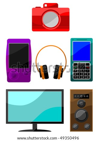Colorful icon set of digital devices: digital camera, mp3 player, lcd display, loudspeaker, headphones, mobile telephone, smartphone