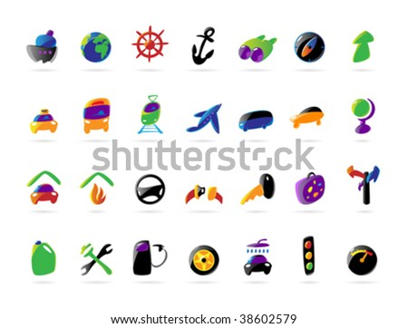 Colorful icons for travel and car services. Vector illustration.