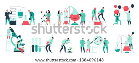 Colorful icons set with biochemical science laboratory staff performing various experiments flat isolated vector illustration