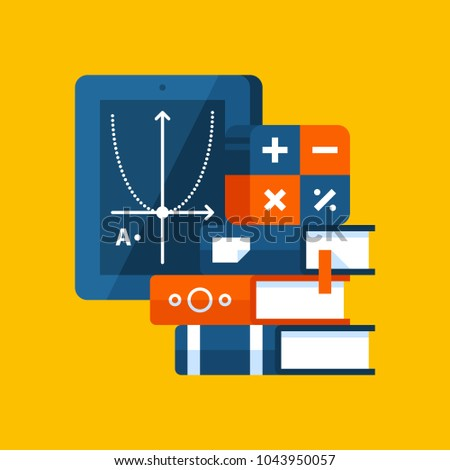 Colorful illustration about algebra in modern flat style. College subject icon on yellow background. Books, mathematical symbols, tablet.