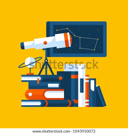 Colorful illustration about astronomy in modern flat style. College subject icon on yellow background. Books, poster with constellation, telescope.