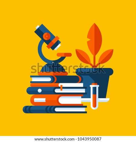 Colorful illustration about biology in modern flat style. College subject icon on yellow background. Books, microscope, plant in the pot.