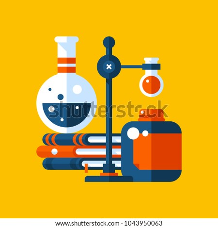 Colorful illustration about chemistry in modern flat style. College subject icon on yellow background. Books, flacks and bulbs.