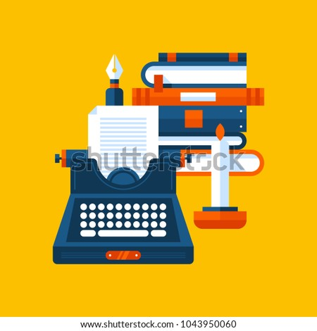 Colorful illustration about literature in modern flat style. College subject icon on yellow background. Books, candle and a typewriter.