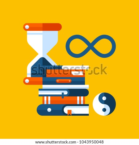 Colorful illustration about philosophy in modern flat style. College subject icon on yellow background. Hourglass, books, philosophical symbols.