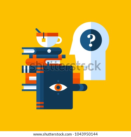 Colorful illustration about psychology in modern flat style. College subject icon on yellow background. Human head with question mark, books, a cup of tea.