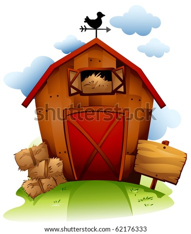 Colorful Illustration Featuring a Barn with Haystack - Vector