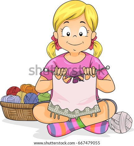 Colorful Illustration Featuring a Little Girl Knitting Next to a Basket of Yarn