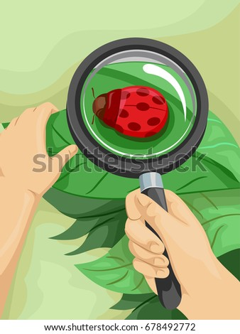 Colorful Illustration Featuring a Man Examining a Ladybug With a Magnifying Glass