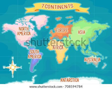 Cartoon map download free vector art stock graphics images colorful illustration featuring a world map highlighting the seven continents gumiabroncs Image collections
