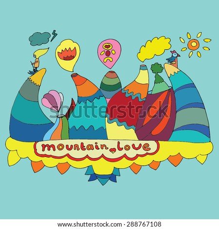 colorful illustration mountain