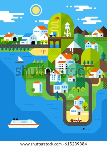 Colorful illustration of city landscape with green hills and white houses. Modern flat style.