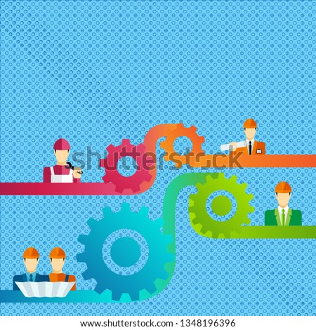 Colorful Illustration of Cog Gear Widget Setting Icons Connecting Men in Helmet of Different Professional Character. Creative Background Idea for Teamwork, Unity and Cooperation.