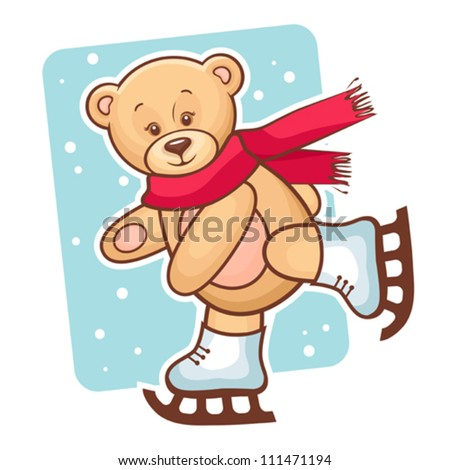Colorful Illustration Of Cute Teddy Bear Skating.