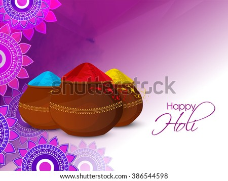 Happy holi greeting card download free vector art stock graphics colorful illustration of holi greeting card or flyer design m4hsunfo