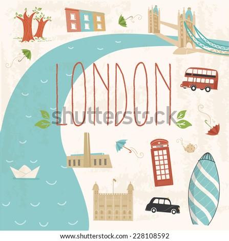 colorful illustration of london