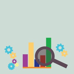 Colorful Illustration of Magnifying Glass Over High and Low Bar Column Chart Beside Cog Wheel Gears. Background Idea for Business Presentation and Financial Report Data Analysis.