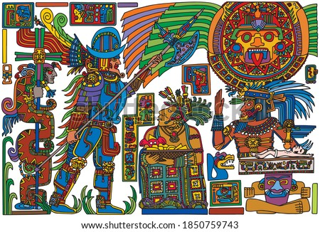 Colorful illustration of Spanish conquistador meeting pre-Columbian native american people, in comics style. Vector illustration. Stockfoto ©