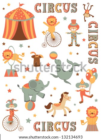 Colorful illustration of tent circus