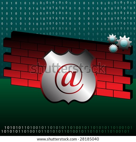 Colorful illustration with binary numbers, red brick wall, colorful gears and a shield. Abstract firewall design