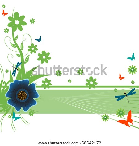 Colorful illustration with green flowers, small butterflies and dragonflies. Summertime theme