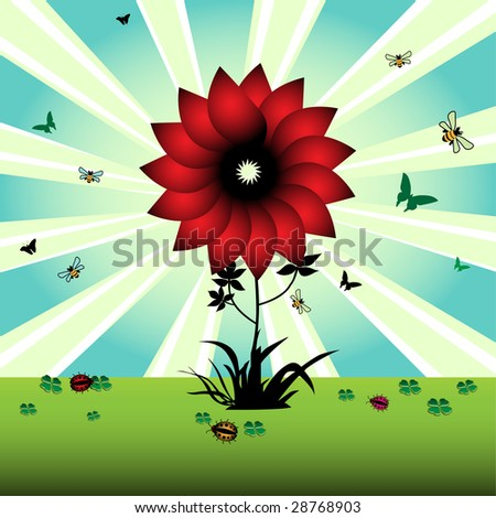 Colorful illustration with red flower, small butterflies, bees, ladybirds and green clovers