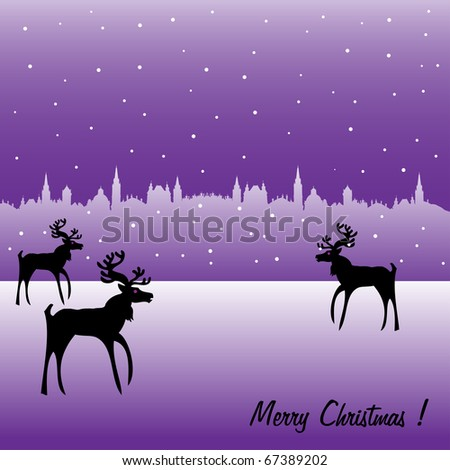Colorful illustration with reindeer silhouettes walking on ice near a town in the middle of a cold weather with snowfall. Seasonal greeting