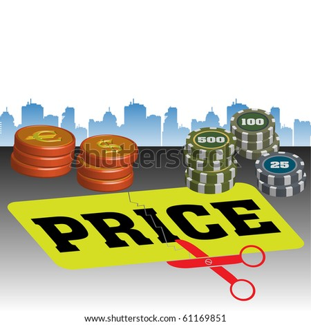 Colorful illustration with scissors cutting the word price, colorful coins and building shapes in the background. Price cut concept