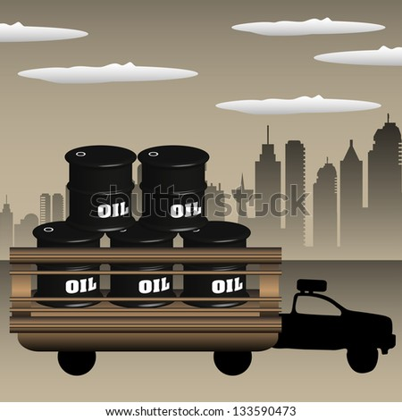 Colorful illustration with truck transporting oil barrels across the city