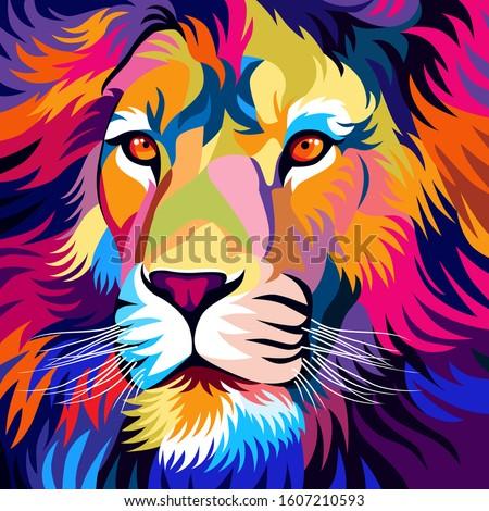 colorful illustrations  a lion