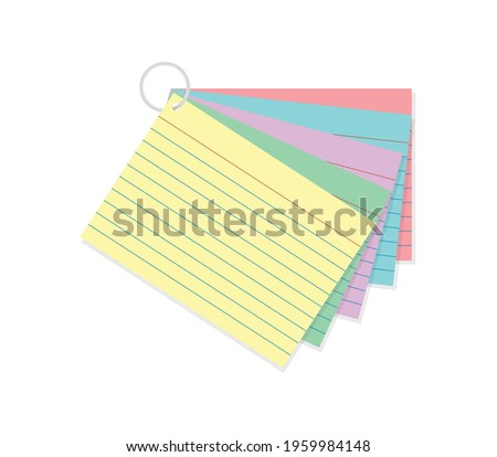 Colorful Index Card, Multicolor Index Card, Study Card, Yellow Paper, Lined Paper, Study Guide, Testing Card, Test Preparation, Exam Prep, Vector Illustration Background Stock fotó ©