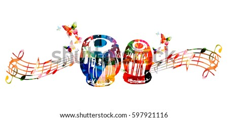 colorful indian tabla with