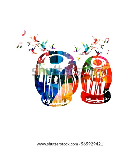 Colorful indian tabla with music notes and hummingbirds isolated. Music instrument background vector illustration. Design for poster, brochure, invitation, banner, flyer, concert and music festival