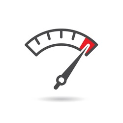 Colorful Info-graphic gauge element. Speedometer icon or sign with arrow. Vector.
