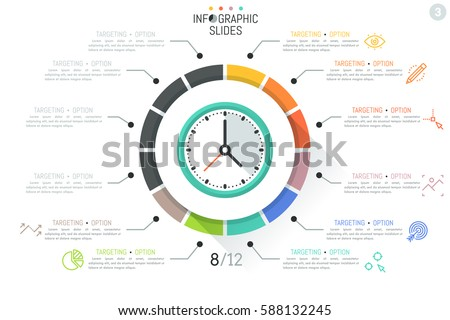 Colorful infographic design template, clock surrounded by 12 sectoral elements connected with text boxes and thin line icons. Task management, circular daily planner concept. Vector illustration.
