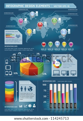 Colorful Infographic Elements with World map and Information Graphics. Vector illustration