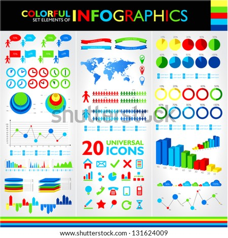 Colorful infographic set and 20 universal icons