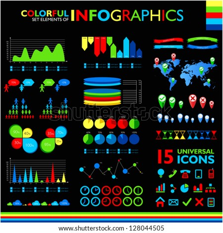 Colorful infographic set on black background and 15 universal icons