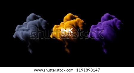 colorful ink splash set
