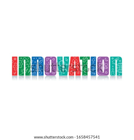 colorful innovation logo. innovation and innovation symbols. symbols on the word innovation