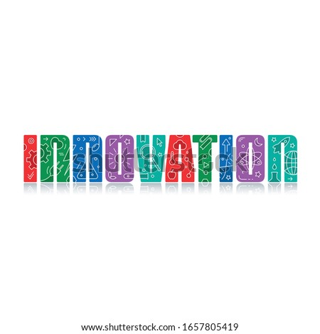 colorful innovation word and innovation symbols on the letters.