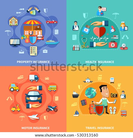 Colorful insurance flat concept with medical transport journey and property protection vector illustration