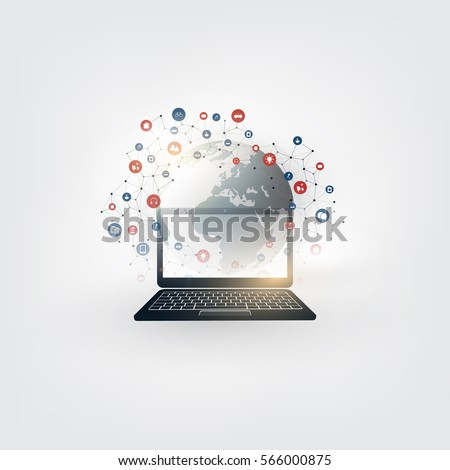 Colorful Internet of Things, Cloud Computing Design Concept with Icons - Digital Network Connections, Technology Background