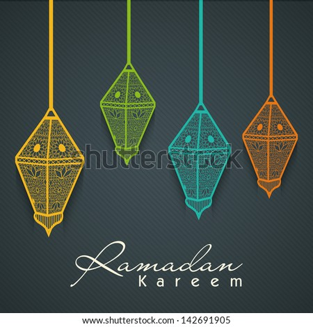 Colorful Intricate Arabic lamps on grey background for holy month of Muslim community Ramadan Kareem.