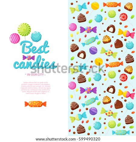 Colorful invitation with place for your text. Candies, sweetmeats and assorted chocolates colorful lollipops background. Vector illustration in modern flat style
