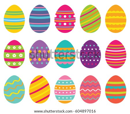 Colorful isolated Easter eggs, vector set